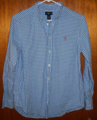 Boy's Ralph Lauren L/s Blue Check Button Shirt Large (14-16)