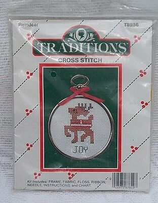 Traditions Cross Stitch Joy Christmas Reindeer Ornament Kit #18536 New
