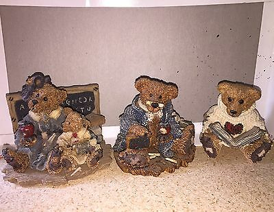 Boyd's Bears Teacher Educator Lot Figurines Set Of 3 Bailey Wilson Bruin
