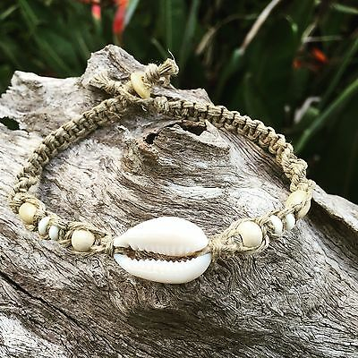 Hand Made Hemp Shell Anklet with Cowrie Shell & Timber Beads, Bohemian