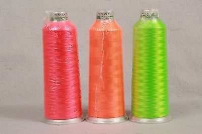 3 New Sealed Madeira Polyester Embroidery Thread  5000m Cone NEON Fluorescent