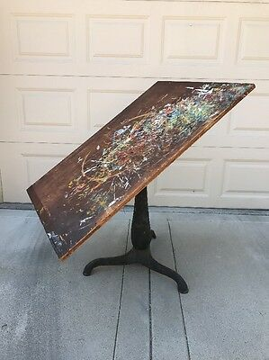 Antique 1920s Industrial Cast Iron Adjustable Drafting Table GREAT PATINA!