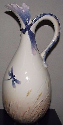 A Stunning Boxed Franz Dragonfly Handled Vase Xp1905