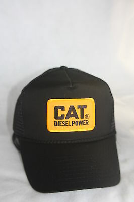 Cat Diesel Power Hat, With Embroidery Patch  Color  Black Adjustable Snaps
