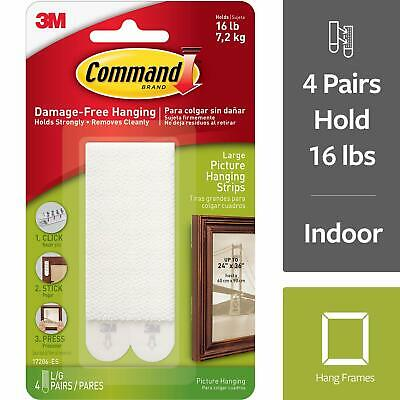 3M Command Large Picture Hanging Strips, Damage Free Decorating 4 pairs 17206