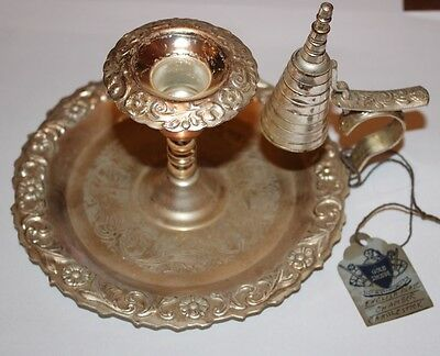 Elegant MAYBELL England Silver Plated Chamber Stick Candlestick with Snuffer