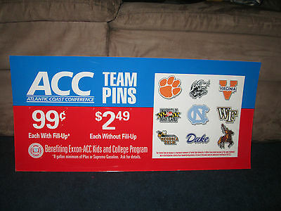 1990's Exxon ACC College team Pins Advertisement Gas Paper Sign 26 X 12 inches