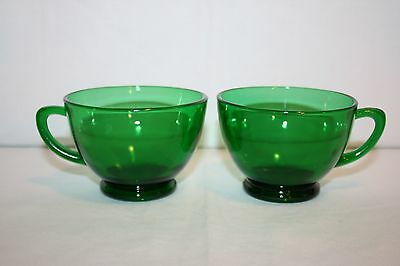 Vintage Anchor Hocking Glass Forest Green Footed 5 oz Punch Tea Cups Set of 2
