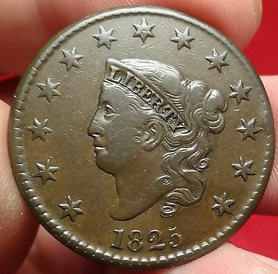 1825 Coronet Head Large Cent Extremely Fine N-6 Variety Better Date 1C