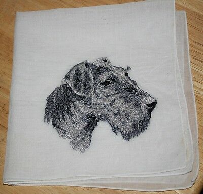 RARE Vtg Airedale Scottish Scottie Terrier Dog  Embroidery Handkerchief Hanky