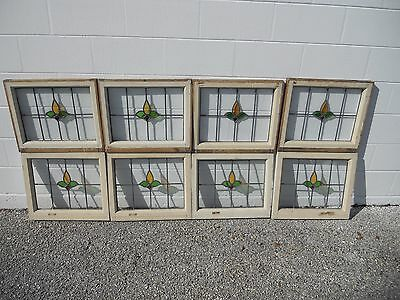 Antique Stained Glass Windows Rare Grouping Of 8 Matching Windows Beautiful
