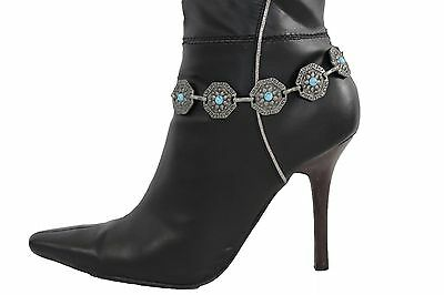 Women Silver Metal Chains Boot Bracelet Anklet Shoe Bling Moroccan Style Charms