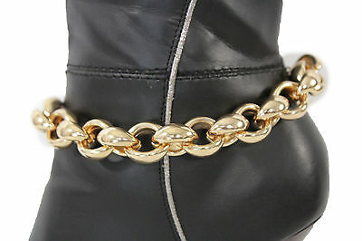 Women Gold Plastic Metal Chain Boot Bracelet Fashion Anklet Shoe Charm Jewelry