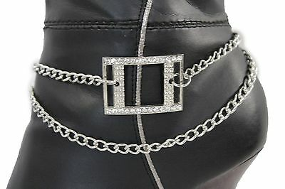 Women Silver Metal Boot Chain Bracelet Anklet Shoe Cutout Square Charm Jewelry