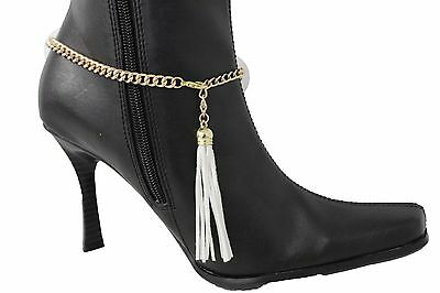 Hot Women Gold Metal Chain Boot Bracelet Anklet Shoe White Fringes Charm Jewelry