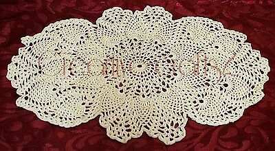 ****NOT RELISTING Handmade Cream Fine Cotton Oval Lacy Crochet Doily, brand new