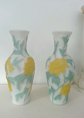 2 Vintage PHOENIX CONSOLIDATED GLASS Yellow Chrysanthemum Satin Glass Vase 9.5""
