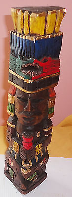 13 5/8 INCHES x 3 1/2 inch wide    Carved & Painted Totem Pole
