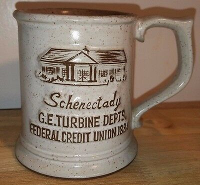 1929 General Electric GE Turbine Credit Union Coffee Mug ONION RIVER POTTERY VT