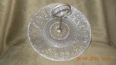 Indiana Glass SANDWICH PATTERN Center Handle Serving Plate Tray