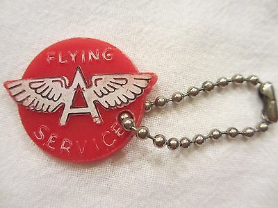 Vtg Flying A Service key chain Tidewater Oil Co. Tulsa