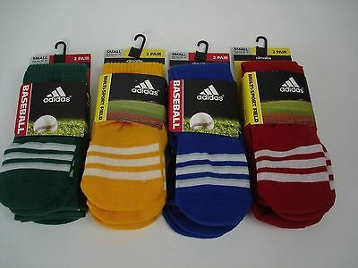 Adidas Unisex Youth Baseball Socks 8 Pair Climalite Cushion Compression 13 C-4 Y