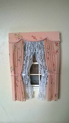 Dolls House Curtains Salmon Pink Floral