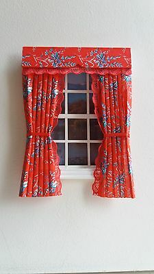 Dolls House Curtains Flame Floral Made In Laura Ashley Fabric