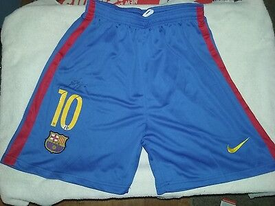 Lionel Messi signed shorts Barcelona #10 COA