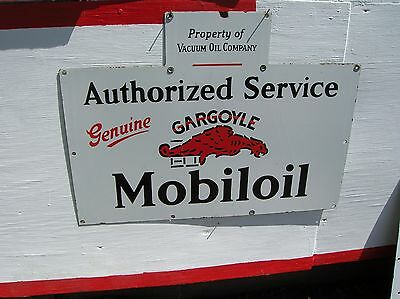 Rare 1920,s Porcelain Mobiloil  Gargoyle Wall Sign In Near Mint Condition