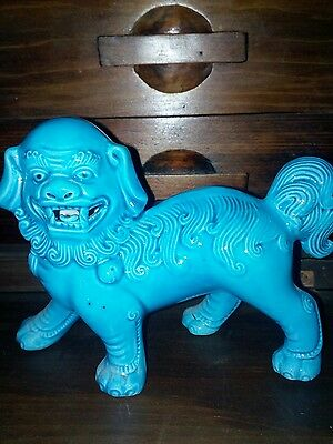 Vintage Chinese Turquoise Foo Dog ''Guardian Lion''