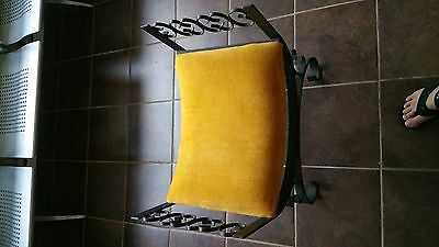 Cast Iron Antique King Louis XIV Victorian Boudoir Yellow Cushion Stool