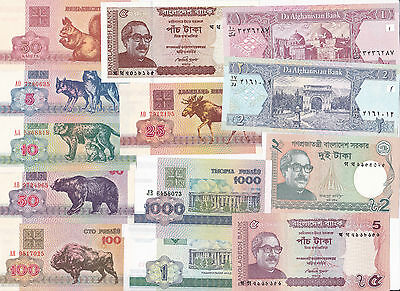TEN SETS, 100 Different banknotes from 32 Countries UNCIRCULATED 1000 pcs total