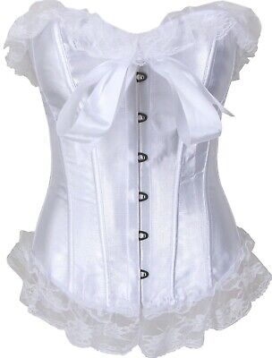 Satin Corset Shaper In White With Lace Trim In Petite And Plus Size Cinchers