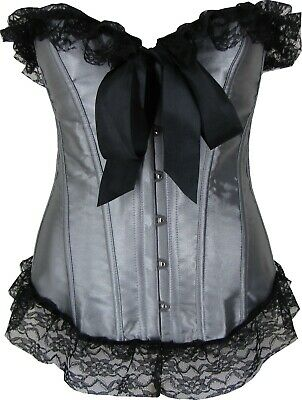 Satin Corset In Grey And Black With Lace Trim In Petite And Plus Size Cinchers