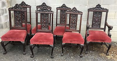 Set Of 7 Carved Oak Dining Chairs