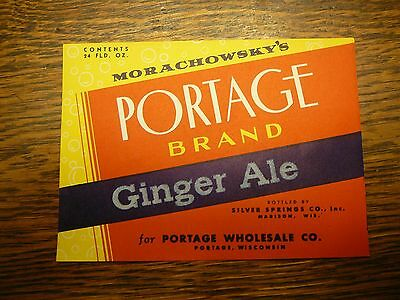 Soda Bottle Label Ginger Ale Portage Morachowsky's Wholesale Co Wisconsin