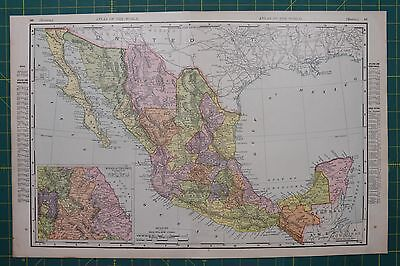 Mexico Vintage Original 1895 Rand McNally World Atlas Map Lot