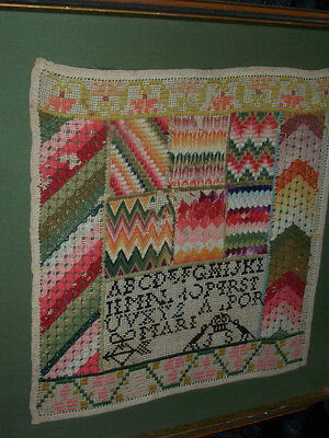 Antique Rare Mexican Girlhood Embroidered Dowry Sampler, Framed