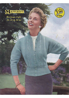 "VINTAGE 1950's KNITTING PATTERN COPY - LADIES CARDIGAN- 32/34/36"" BUST -3PLY"
