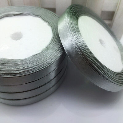 New 25 Yards 6mm Silver Satin Ribbon Wedding Party Decoration Craft Sewing