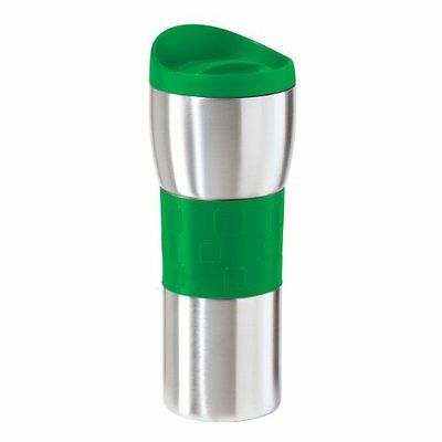 Oggi 8062.11 Double Wall Stainless Steel 16-Ounce Travel Mug with Green Grip