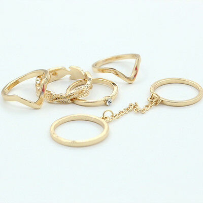 6Pcs/set Rhinestones Gold Rings-Knuckle stacking Band Mid Ring P14