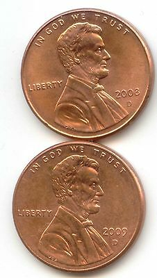 USA 2008D 2009D American PENNIES One Cent Coin 1c ~EXACT PENNY SET 2008 D 2009 D