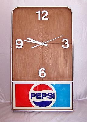 "Vintage PEPSI Cola Hanging Wall Clock Plastic 19.5"" x 11.5"" x 2"" Working Quartz"