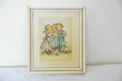 Lambert Products Children Picture Framed Dog  Eating Pie White Vintage