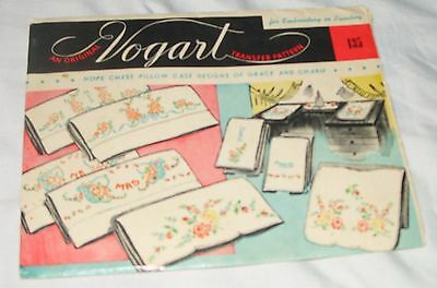 Vntg. VOGART TRANSFER PATTERN #135 Stamped to Embroidery PILLOW CASE DESIGNS