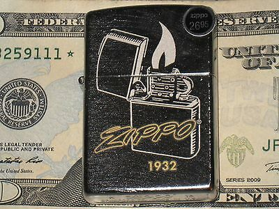 New Windproof US ZIPPO 1932 Lighter picture on Brushed Chrome Lifetime Guarantee