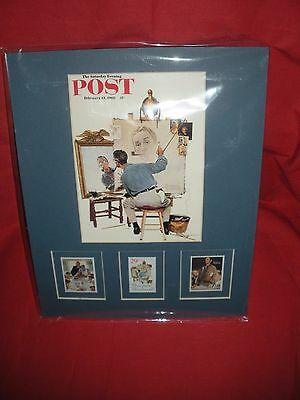 Norman Rockwell Self Portrait Matted Frame Art + 3 Us Postal Rockwell Stamps New