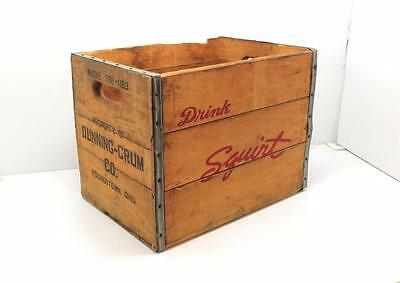 Vintage Wooden DRINK SQUIRT Box Soda Crate Youngstown Ohio Dunning Crum Wood